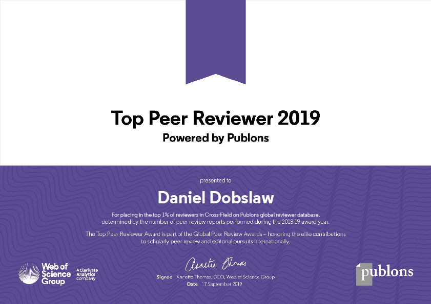 Daniel Dobslaw ist Top Peer Reviewer 2019