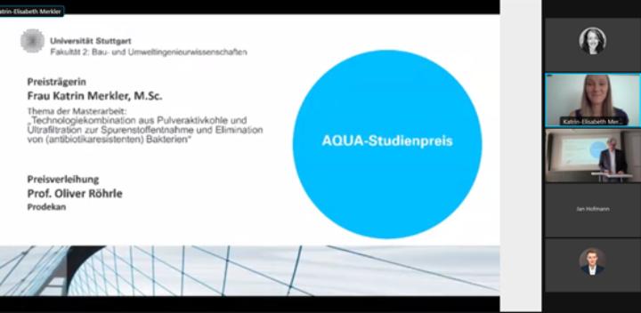 Verleihung des AQUA-Studienpreises an Katrin Merkler (KomS)- online